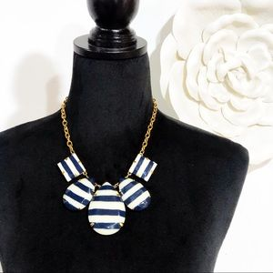 Kate Spade Navy White Striped Statement Necklace